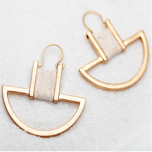 Geometric Dangle Earrings   Gold-Tone Semicircle Drop Earrings
