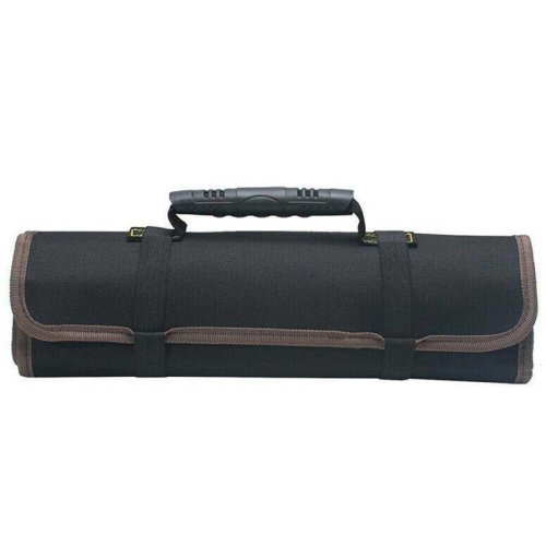 (Black) 22 Pocket Spanner Wrench Tool Storage Bag Portable Roll Up Canvas Pouch Organizer