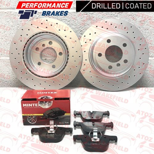 FOR BMW 3 SERIES REAR DRILLED COATED PERFORMANCE BRAKE DISCS MINTEX PADS 330mm