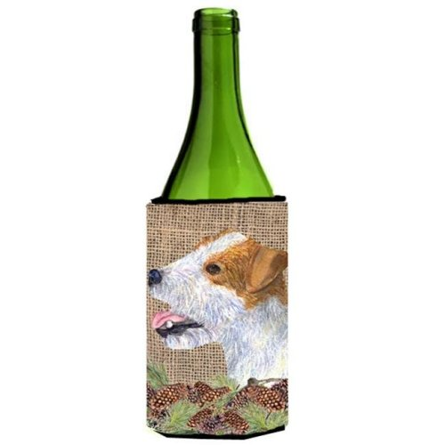 Jack Russell Terrier on Faux Burlap with Pine Cones Wine bottle sleeve Hugger 24 oz.