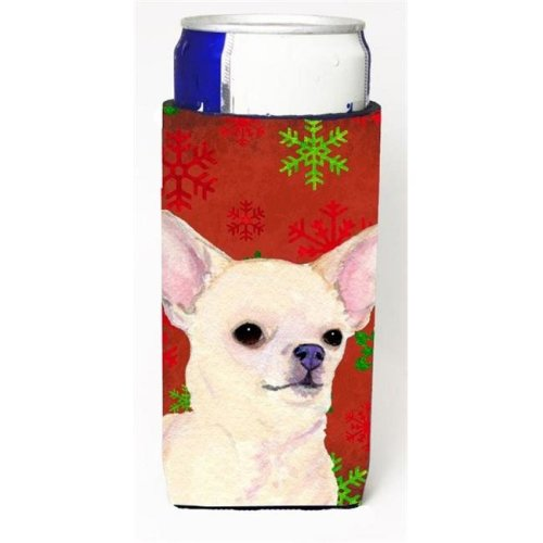 Chihuahua Red And Green Snowflakes Holiday Christmas Michelob Ultra bottle sleeves For Slim Cans - 12 oz.