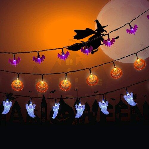 Halloween Lights Outdoor, 3 Pack 20 LED Battery Powered Hallowen Decorations Lights