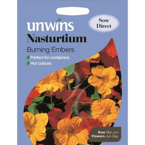 Unwins Pictorial Packet - Nasturtium Burning Embers - 40 Seeds
