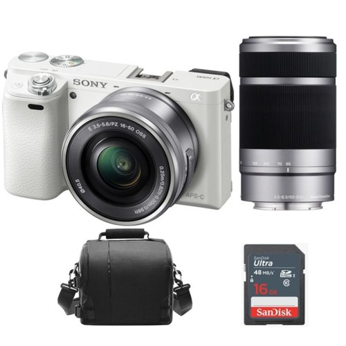 SONY A6000 White KIT SEL 16-50MM + SEL 55-210MM + Bag + 16GB SD card