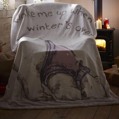 "Christmas Polar Bear Throw Throwover Cute Xmas, Polyester, Grey, 51"" x 67"" (130cm x 170cm)"