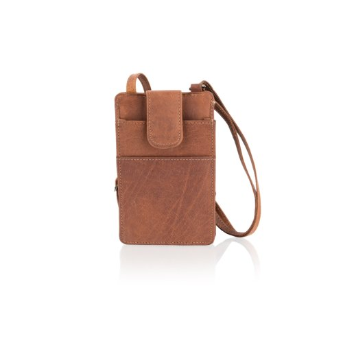 "Woodland Leather Tan Portrait Small Cross Body Bag 7.0"" Central Zip Compartment Multi Pockets Adjustable Shoulder Strap"