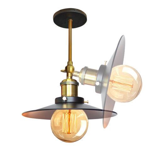 (Dia 22cm, Black) Straight Wall Lamp Ceiling Light Flying Saucer Shape