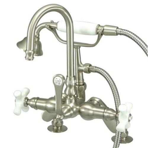 Kingston Brass CC8538PX 7 in. Center Deck Mount Tub Filler with Hand Shower, Satin Nickel