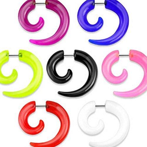 White Acrylic Spiral Fake Taper 1.2 x 6mm Ear Stretcher Earring Body Piercing Jewellery