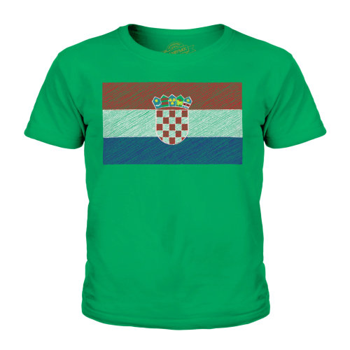 (Irish Green, 5-6 Years) Candymix - Croatia Scribble Flag - Unisex Kid's T-Shirt
