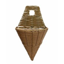 Rattan Effect Plastic  Flower Herb Cone Wall Hanging Plant Planting Pot Basket