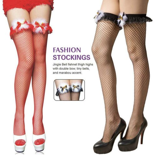 Ladies Sexy Fishnet Stockings High Sock Christmas