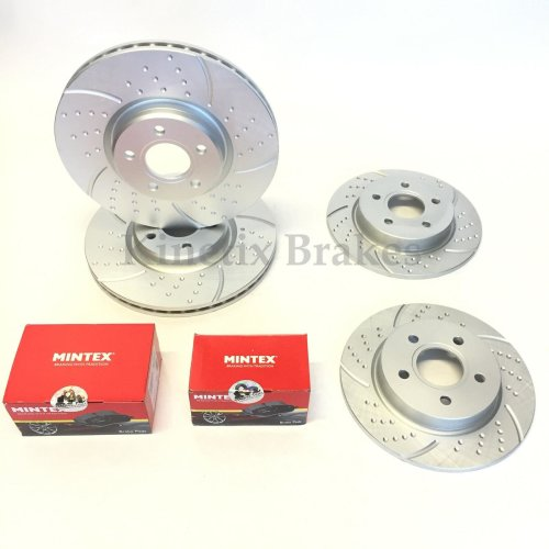 FOR FORD FOCUS 2.0 ST 185 250 FRONT REAR DIMPLED GROOVED BRAKE DISCS MINTEX PADS