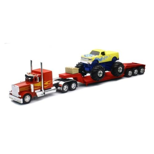 New-Ray SS-11263A Peterbilt Lowboy With Monster Truck