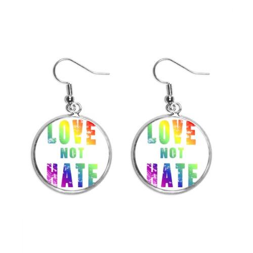 Rainbow Gay Lesbian Flag LGBT Ear Dangle Silver Drop Earring Jewelry Woman