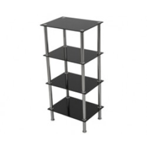King Black Glass 4 Tier Modern Organisation Rack, Shelving Shelf Unit, Shelf Width 40cm x 30cm