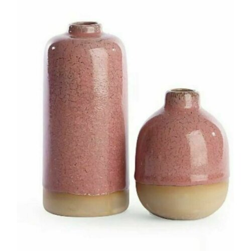Pink Crackle Vase Set