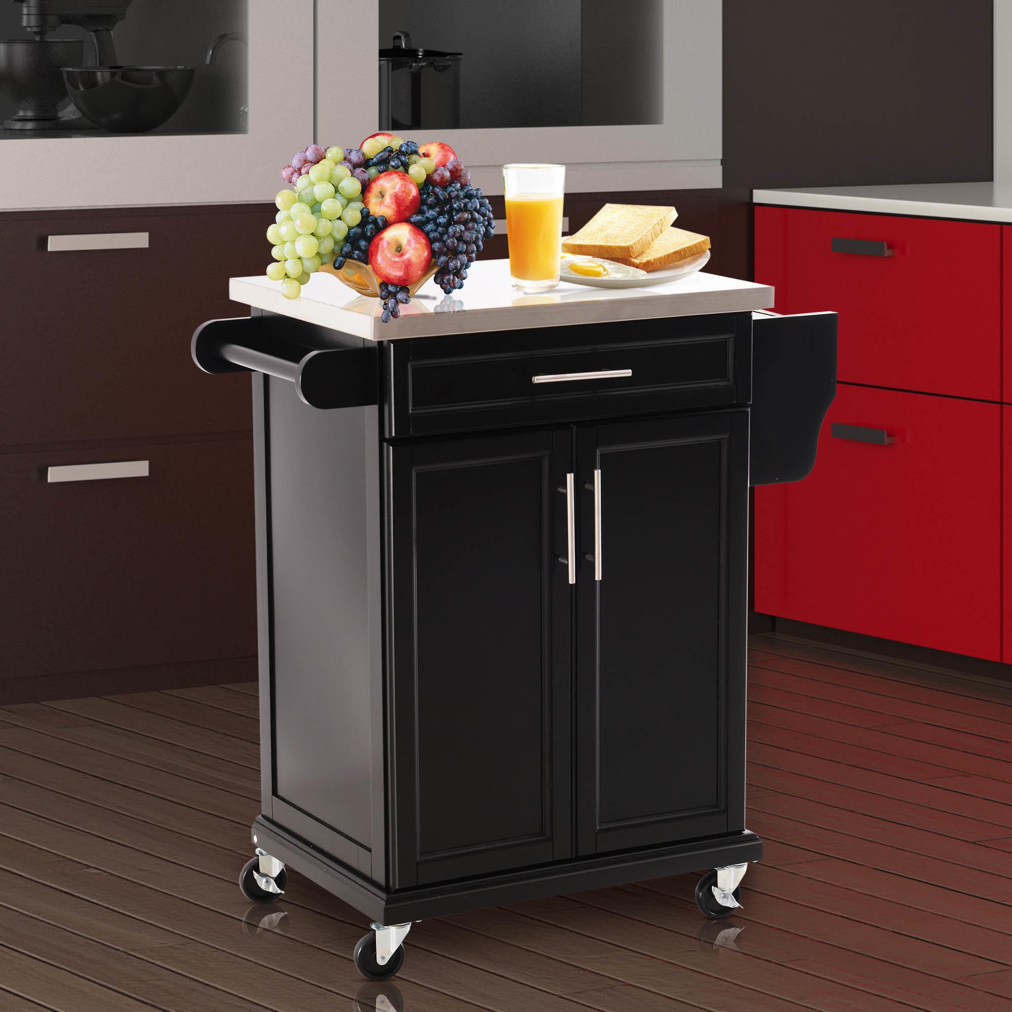 homcom wooden kitchen cart serving trolley storage cabinet
