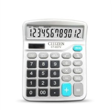 Finance Calculator 12 Digits Solar and Coin Battery Power Desktop Office Stationery