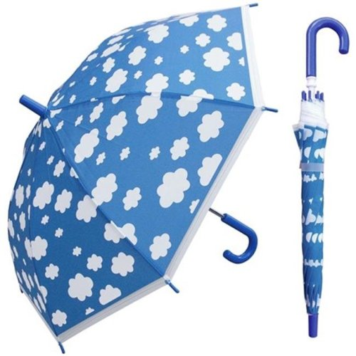 RainStoppers W107CHCLOUD 32 in. Childrens Cloud Print Plastic Canopy Umbrella, 3 Piece