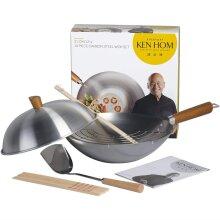 10pc Ken Hom Classic 31cm Carbon Steel Wok Set
