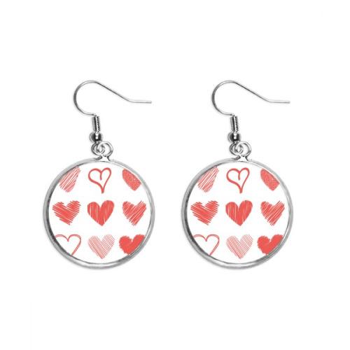 Valentine's Day Hearts Lines Sketch Ear Dangle Silver Drop Earring Jewelry Woman