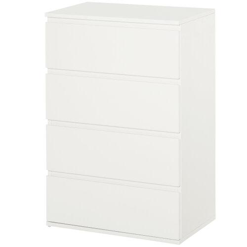 HOMCOM 4 Drawer Cabinet Storage Cupboard Sideboard Organiser Living Room White