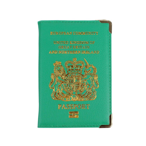New UK Passport Holder Protector Cover Wallet PU Leather- Green