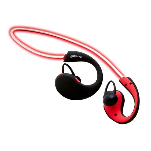 Groov-e GVBT800RD Action Wireless Bluetooth Sports Headphone with LED Neckband