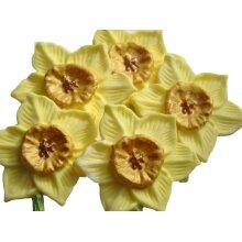 6 Edible Handmade Daffodil Flowers Cake Topper Decorations