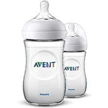 Philips Avent SCF033 / 27 - 260 ml natural baby bottle  Pack of 2 baby bottles  Transparent