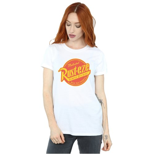 White Xx Large Disney Women S Cars Rust Eze Logo Boyfriend Fit T Shirt On Onbuy