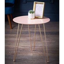 Malvern Side Table with Rose Gold Finish Metal Legs, and a Blush Pink Top Ideal For Placing Drinks. - Blush & Rose Gold