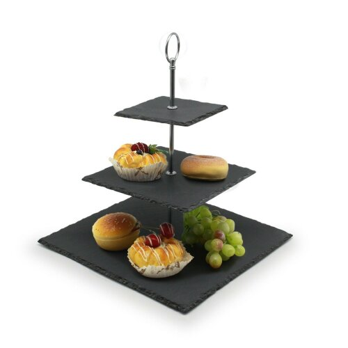 Slate 3 Tier Wedding Cake Stand Square Tiered Serving Display Stand