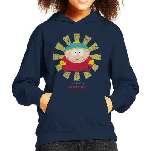 (Large (9-11 yrs), Navy Blue) South Park Cartman Retro Japanese Kid's Hooded Sweatshirt