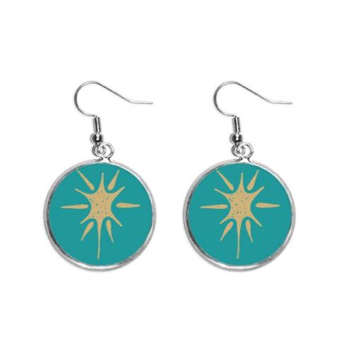 Sunlight Abstract Plants Art Pattern Ear Dangle Silver Drop Earring Jewelry Woman