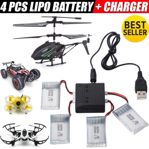 NEW 4PC 3.7V 600mAh Lipo Battery Charger for Syma X5C-1 Parts RC Drone