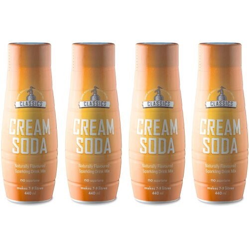 SodaStream Classics Cream Soda Syrup, Pack of 4 - 4 x 440 ml