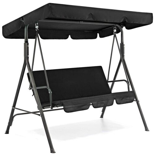 (Black) 3 Seat Swing Canopies Seat Cushion Cover Set Only