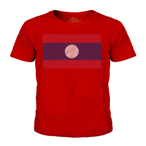 (Red, 9-10 Years) Candymix - Laos Scribble Flag - Unisex Kid's T-Shirt
