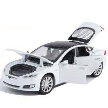 1/32 Alloy Die Cast Tesla Model S P100D Sedan Model Toy Car  6 Door Sound Light Pull Back Saloon