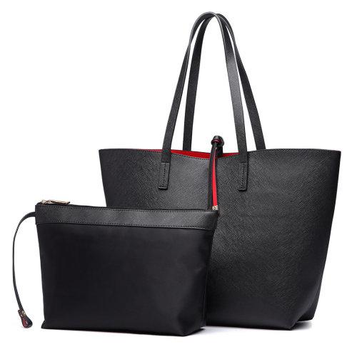 Miss Lulu Reversible Faux Leather Handbag & Pouch