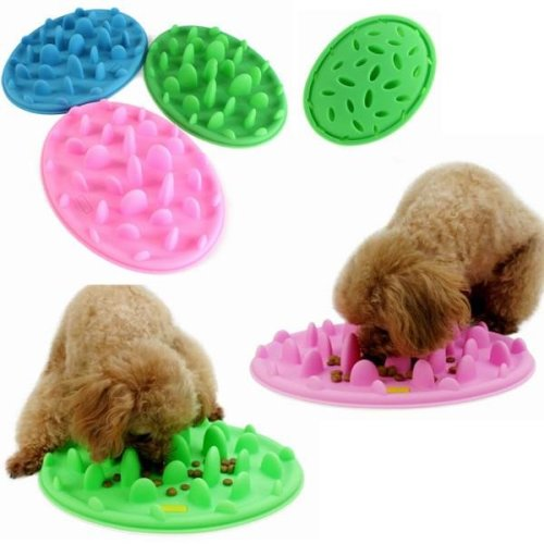 Dog Cat Slow Eating Feeder Anti Choke Pets Bowl Feed Dish Puppy Silicone Gulp