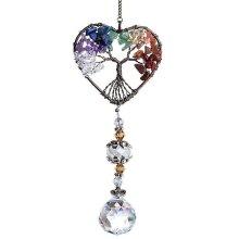 Glass Suncatcher Crystal Pendant Rainbow Colorful Shaped Life Tree Decor(Heart-shaped Tree)
