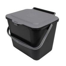 Black & Silver Grey Kitchen Food Compost Caddy - 5 Litre Bin (5L)
