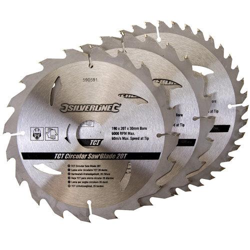 Silverline 190mm x 30mm TCT Circular Saw Blades Pack x3 (20/24/40T 20mm Rings)
