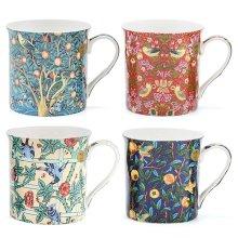 William Morris Birds Mugs - Set of 4