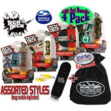 TEcH DEcK 96mm Individual Fingerboards gift Set Party Bundle with Bonus Exclusive Mattys Toy Stop Storage Bag - 4 Pack (Assorted Styles)