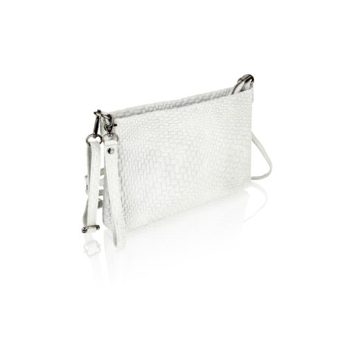 """Woodland Leather Light Grey Printed Leather Clutch Style Bag 10.0"""" Zip Top"""