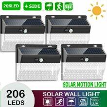4X206LED Solar Powered Motion Sensor Light Outdoor Security Wall Light